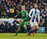 Brighton & Hove Albion's Davy Propper (right) battles with Watford's Will Hughes (left) <br /> <br /> Photographer David Horton/CameraSport<br /> <br /> The Premier League - Brighton and Hove Albion v Watford - Saturday 2nd February 2019 - The Amex Stadium - Brighton<br /> <br /> World Copyright © 2019 CameraSport. All rights reserved. 43 Linden Ave. Countesthorpe. Leicester. England. LE8 5PG - Tel: +44 (0) 116 277 4147 - admin@camerasport.com - www.camerasport.com