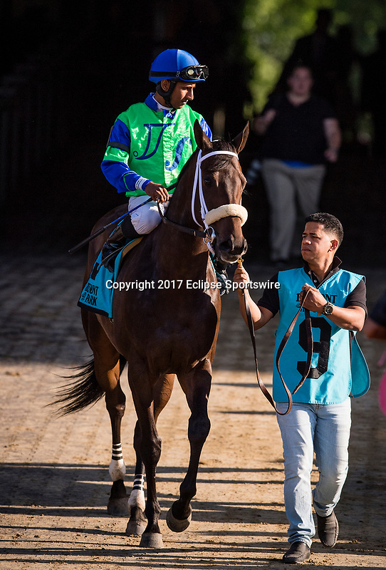 ELMONT, NY - JUNE 09: By The Moon #9 and Rajiv Maragh head to the track for the Bed o' Roses Invitational Stakes at Belmont Park on June 9, 2017 in Elmont, New York. (Photo by Alex Evers/Eclipse Sportswire/Getty Images)