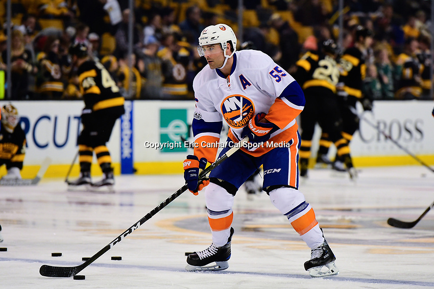 Monday, January 16, 2017: New York Islanders defenseman Johnny Boychuk (55) warms up before the National Hockey League game between the New York Islanders and the Boston Bruins held at TD Garden, in Boston, Mass. New York defeats Boston 4-0.  Eric Canha/CSM