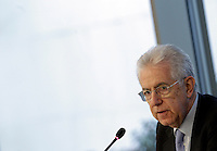 Il Presidente del Consiglio uscente Mario Monti partecipa ad un incontro elettorale all'Ance, Roma, 20 febbraio 2013..Italian outgoing Premier Mario Monti attends an electoral meeting in Rome, 20 February 2013..UPDATE IMAGES PRESS/Riccardo De Luca