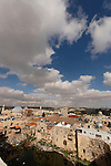 Israel, Jerusalem. View of the Old City, Mount of Olives is in the background