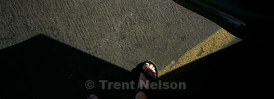 Trent feet in parking lot<br />