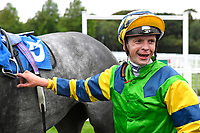 Jockey David Probert in the Winner's enclosure with Giving Back after  winning The St Christopher's Car Sales Bournemouth Supporting Gift Of Sight Handicap during Evening Racing at Salisbury Racecourse on 3rd September 2019