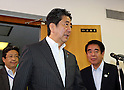 July 11, 2016, Tokyo, Japan - Japanese Prime Minister and ruling Liberal Democratic Party (LDP) president Shinzo Abe enters a conference room to speak before press at the LDP headquarters in Tokyo on Monday, July 11, 2016, one day after the Upper House election. Abe will order his economy minister to make economic stimulation package.     (Photo by Yoshio Tsunoda/AFLO) LWX -ytd-