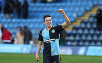 Luke O'Nien of Wycombe Wanderers celebrates at the final whistle during the Sky Bet League 2 match between Wycombe Wanderers and Bristol Rovers at Adams Park, High Wycombe, England on 27 February 2016. Photo by Andrew Rowland.