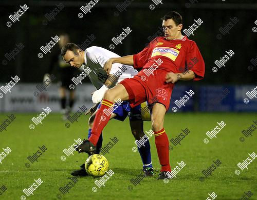 2008-03-29 / Voetbal / FC De Kempen - Kontich FC / Yves Leysen (L) in duel met Van Den Langenbergh (Kontich)..Foto: Maarten Straetemans (SMB)