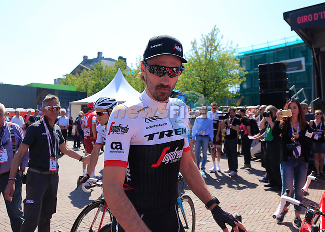 Fabian Cancelara (SUI) Trek-Segafredo arrives at sign on before the start of Stage 2 of the 2016 Giro d'Italia running 190km from Arnhem to Nijmegen, The Nethrerlands. 7th May 2016.<br /> Picture: Eoin Clarke | Newsfile<br /> <br /> <br /> All photos usage must carry mandatory copyright credit (&copy; Newsfile | Eoin Clarke)