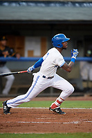 Bluefield Blue Jays right fielder DJ Neal (3) follows through on a swing during the second game of a doubleheader against the Bristol Pirates on July 25, 2018 at Bowen Field in Bluefield, Virginia.  Bristol defeated Bluefield 5-2.  (Mike Janes/Four Seam Images)