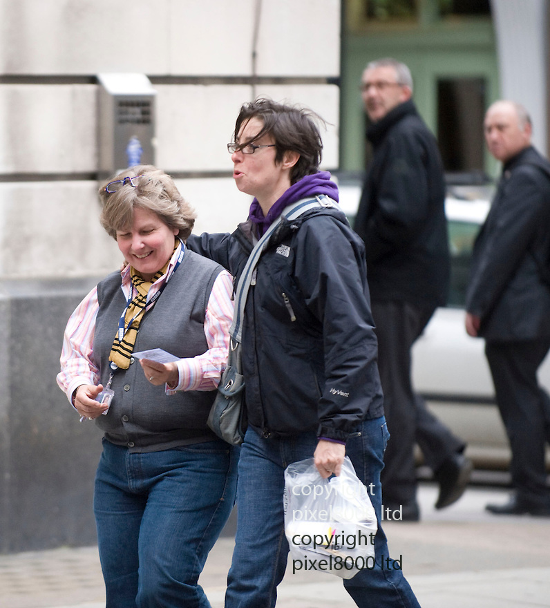 Radio 2 arrivals 7.10.10.Sandi Toksvig meets Sue Perkins outside the studios.both are known to be lesbians....Picture by Gavin Rodgers/ Pixel 07917221968