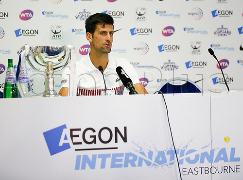 July 1st 2017, Devonshire Park, Eastbourne, England; Aegon International Eastbourne; Finals Day; Novak Djokovic (SRB) versus Gael Monfils (FRA); Djokovic at press conference after defeating Monfils at The Mens Final