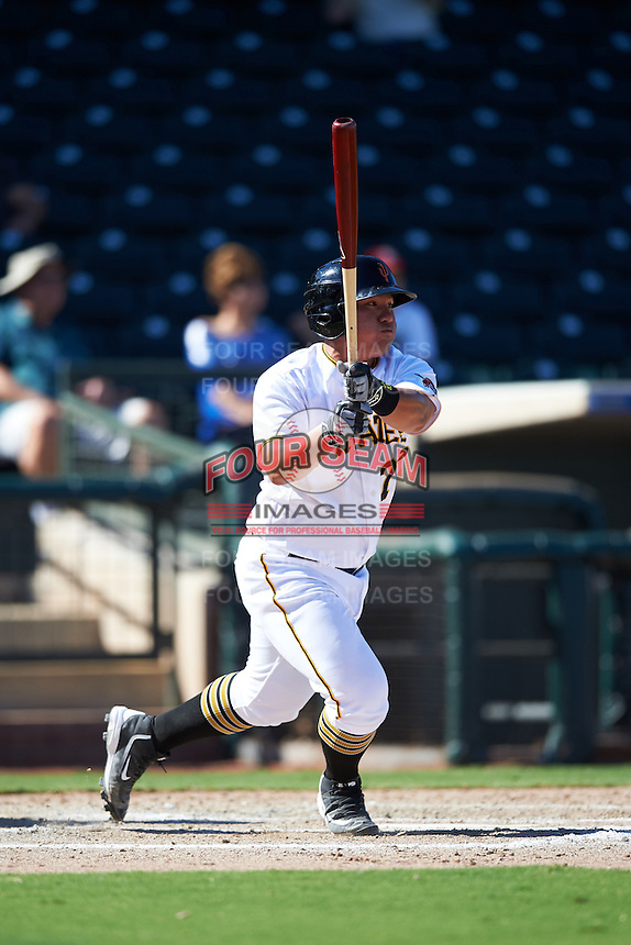 Surprise Saguaros Jin-De Jhang (77), of the Pittsburgh Pirates organization, during a game against the Glendale Desert Dogs on October 22, 2016 at Surprise Stadium in Surprise, Arizona.  Surprise defeated Glendale 10-8.  (Mike Janes/Four Seam Images)
