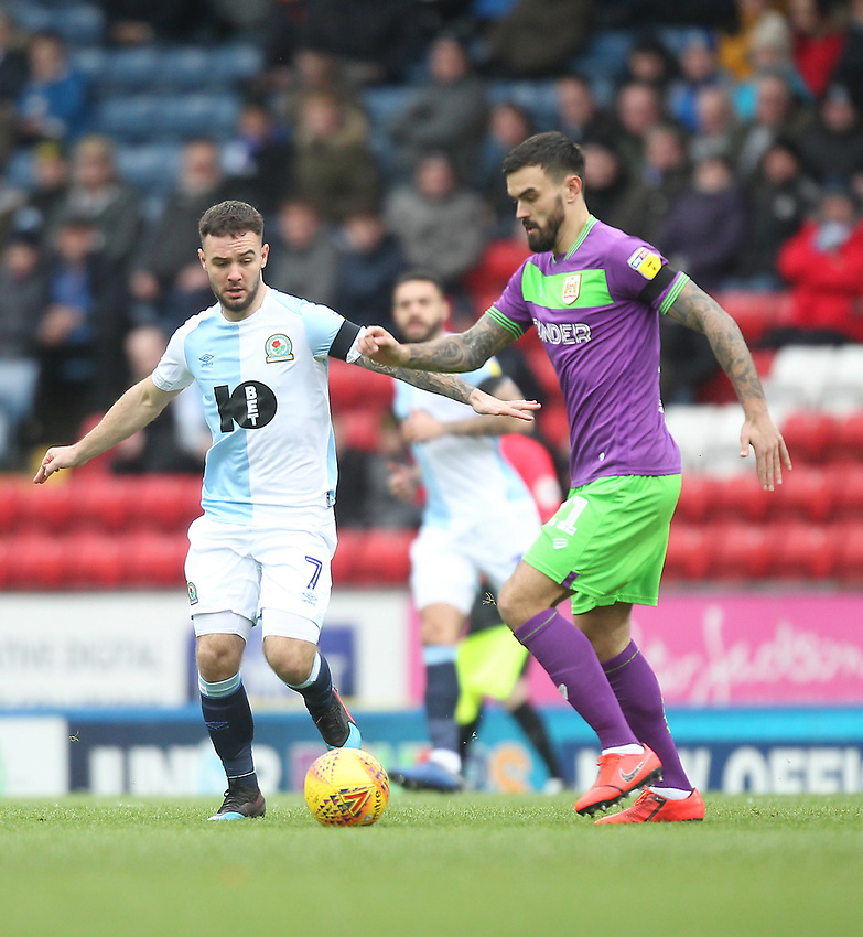 Blackburn Rovers Adam Armstrong in action with Bristol City's Marlon Pack<br /> <br /> Photographer Mick Walker/CameraSport<br /> <br /> The EFL Sky Bet Championship - Blackburn Rovers v Bristol City - Saturday 9th February 2019 - Ewood Park - Blackburn<br /> <br /> World Copyright © 2019 CameraSport. All rights reserved. 43 Linden Ave. Countesthorpe. Leicester. England. LE8 5PG - Tel: +44 (0) 116 277 4147 - admin@camerasport.com - www.camerasport.com