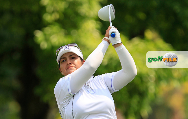Lizette Salas (USA) on the 9th tee during Round 3 of the HSBC Women's Champions at the Sentosa Golf Club, The Serapong Course in Singapore on Saturday 7th March 2015.<br /> Picture:  Thos Caffrey / www.golffile.ie