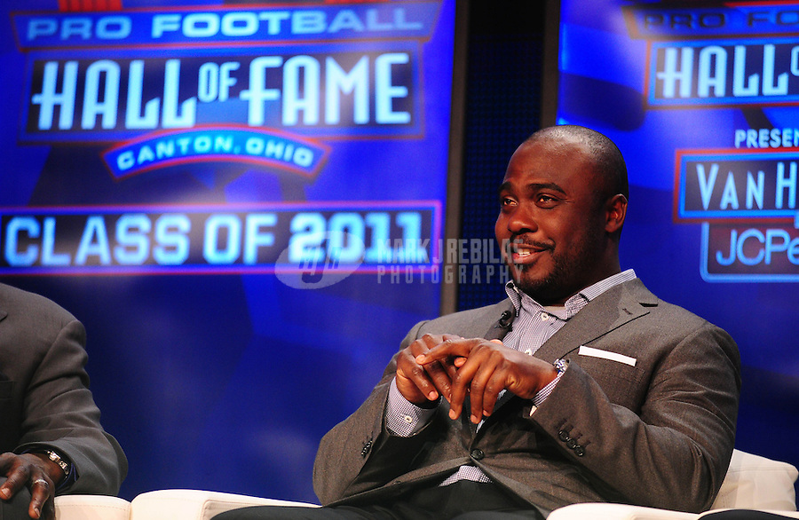 February 5, 2011; Dallas, TX, USA; Marshall Faulk talks during a press conference after being named into the NFL Hall of Fame class of 2011 at the Super Bowl XLV media center. Mandatory Credit: Mark J. Rebilas-