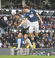 Blackburn Rovers Sam Gallagher   gets a header on goal<br /> <br /> Photographer Mick Walker/CameraSport<br /> <br /> The EFL Sky Bet Championship - Derby County v Blackburn Rovers - Sunday 8th March 2020  - Pride Park - Derby<br /> <br /> World Copyright © 2020 CameraSport. All rights reserved. 43 Linden Ave. Countesthorpe. Leicester. England. LE8 5PG - Tel: +44 (0) 116 277 4147 - admin@camerasport.com - www.camerasport.com