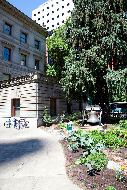 Portland's City Hall planted a small vegetable garden where the lawn once was as a symbolic gesture of support for the growing community food movement.  Harvest from the garden will be donated to hunger relief efforts.