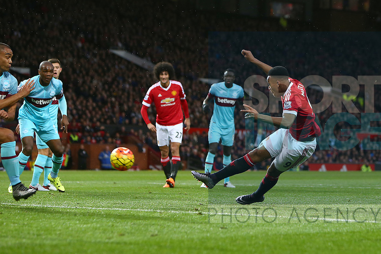 Anthony Martial of Manchester United strikes at goal but sees it blocked - Manchester United vs West Ham United - Barclay's Premier League - Old Trafford - Manchester - 05/12/2015 Pic Philip Oldham/SportImage