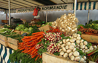 Vegetables for sale on french market stall in the Bastille area of Paris,