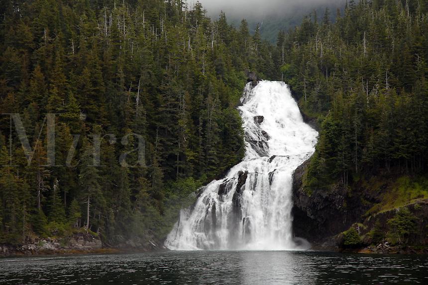 Cascade Falls, Cascade Bay, Prince William Sound, Chugach National Forest, Alaska.