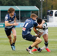 Bedford's George Perkins tackles Ealing's Curtis Wilson during the Greene King IPA Championship match between Ealing Trailfinders and Bedford Blues at Castle Bar , West Ealing , England  on 29 October 2016. Photo by Carlton Myrie / PRiME Media