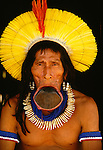 Portrait of elder Kayapo, Para State, Brazil