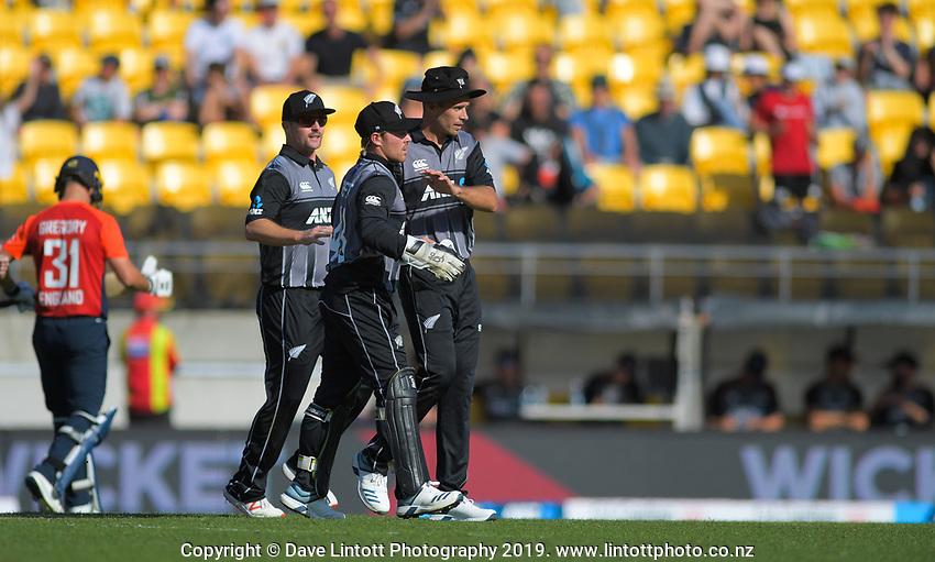 Tim Southee celebrates the dismissal of Lewis Gregory. Twenty20 International cricket match between NZ Black Caps and England at Westpac Stadium in Wellington, New Zealand on Sunday, 3 November 2019. Photo: Dave Lintott / lintottphoto.co.nz