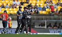 Tim Southee celebrates the dismissal of Lewis Gregory. Twenty20 International cricket match between NZ Black Caps and England at Westpac Stadium in Wellington, New Zealand on Sunday, 3 November 2019. Photo: Dave Lintott / lintottphoto.co.nz