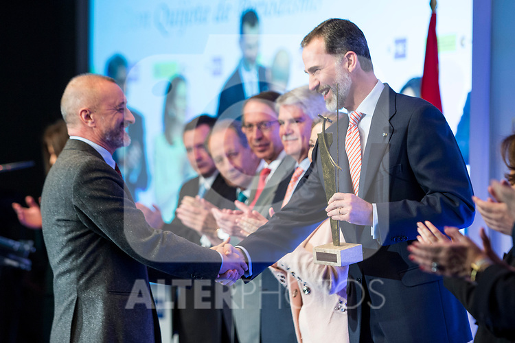 "Arturo Perez Reverte and Spanish king Felipe attends XXXIV International prizes of journalism ""Rey de Espana"" and the XIII edition of the prize ""Don Quijote"" of journalism in Madrid, Spain. March 27, 2017. (ALTERPHOTOS / Rodrigo Jimenez)"