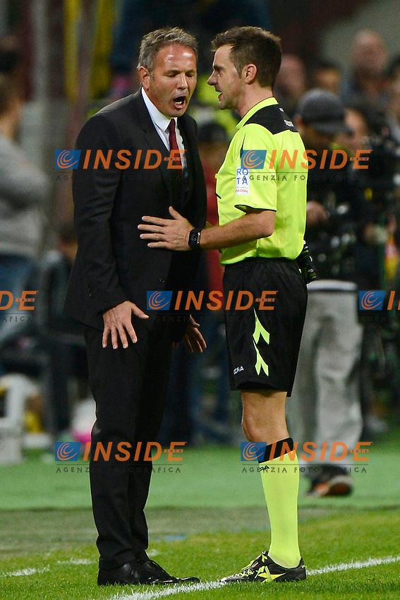 Sinisa Mihajlovic Milan protesta con Gianluca Rocchi arbitro. Referee<br /> Milano 4-10-2015 Stadio Giuseppe Meazza - Football Calcio Serie A Milan - Napoli. Foto Giuseppe Celeste / Insidefoto