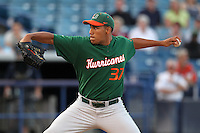 "Miami Hurricanes Daniel Miranda #37 during a game vs. the University of South Florida Bulls in the ""Florida Four"" at George M. Steinbrenner Field in Tampa, Florida;  March 1, 2011.  USF defeated Miami 4-2.  Photo By Mike Janes/Four Seam Images"