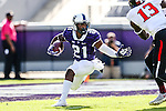 TCU Horned Frogs running back Kyle Hicks (21) in action during the game between the Texas Tech Red Raiders and the TCU Horned Frogs at the Amon G. Carter Stadium in Fort Worth, Texas.