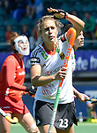 The Hague, Netherlands, June 13: Marie Maevers #23 of Germany alls for a video referral during the field hockey placement match (Women - Place 7th/8th) between Korea and Germany on June 13, 2014 during the World Cup 2014 at Kyocera Stadium in The Hague, Netherlands. Final score 4-2 (2-0)  (Photo by Dirk Markgraf / www.265-images.com) *** Local caption ***