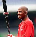 3 July 2009: Washington Nationals' center fielder Nyjer Morgan recently acquired from the Pittsburgh Pirates, takes his first batting practice with the Nats prior to a game against the Atlanta Braves at Nationals Park in Washington, DC. The Braves defeated the Nationals 9-8, to take the first game of the 3-game weekend series. Mandatory Credit: Ed Wolfstein Photo
