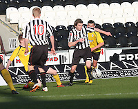 Kieran Doran on the ball as Liam Dick puts a foot in in the St Mirren v Falkirk Clydesdale Bank Scottish Premier League Under 20 match played at St Mirren Park, Paisley on 30.4.13.