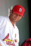 14 March 2007: St. Louis Cardinals pitcher Blake Hawksworth sits in the dugout during a game against the Washington Nationals at Roger Dean Stadium in Jupiter, Florida...Mandatory Photo Credit: Ed Wolfstein Photo