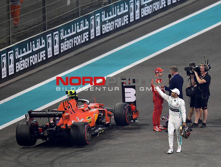 01.12.2019, Yas Marina Circuit, Abu Dhabi, FORMULA 1 ETIHAD AIRWAYS ABU DHABI GRAND PRIX 2019<br />, im Bild<br /><br />Sieger Lewis Hamilton (GB#44), Mercedes-AMG Petronas Motorsport, 2.Platz für Max Verstappen (NEL#33), Aston Martin Red Bull Racing, 3.Platz für Charles Leclerc (MCO#16), Scuderia Ferrari Mission Winnow<br /> <br /> Foto © nordphoto / Bratic