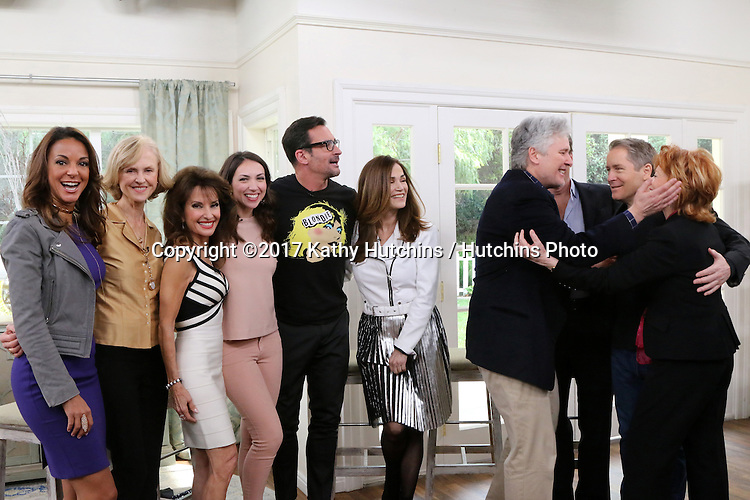 "LOS ANGELES - JAN 5:  Eva LaRue, Jill Larson, Susan Lucci, Eden Riegel, Lawrence Zarian, Kim Delaney, Michael E. Knight, Peter Bergman, Laurence Lau, Kathleen Noone at the ""All My Children"" Reunion on ""Home and Family"" Show at Universal Studios on January 5, 2017 in Los Angeles, CA"