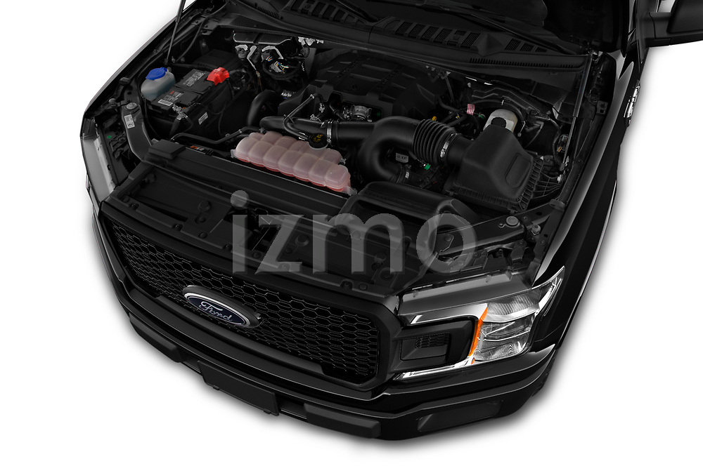 Car Stock 2019 Ford F-150 XL-SuperCrew 2 Door Pick-up Engine  high angle detail view