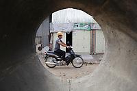 Battambang - Cambodia - June 2020<br /> -  early morning near construction of sewer pipes