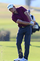 Eddie Pepperell (ENG) plays his 2nd shot on the 14th hole during Thursday's Round 1 of the 2016 Portugal Masters held at the Oceanico Victoria Golf Course, Vilamoura, Algarve, Portugal. 19th October 2016.<br /> Picture: Eoin Clarke | Golffile<br /> <br /> <br /> All photos usage must carry mandatory copyright credit (&copy; Golffile | Eoin Clarke)