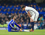 Chelsea's Diego Costa talks to PSG's Thiago Silva as he goes off injured<br /> <br /> - UEFA Champions League - Chelsea vs Paris Saint Germain - Stamford Bridge - London - England - 9th March 2016 - Pic David Klein/Sportimage