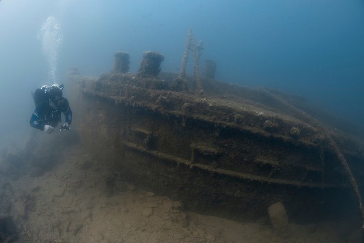 The wreck of the X-Lighter craft X127 which was sunk by a bomb in the murky waters of Valetta harbor in WW2. This ship was famous for taking part in the Gallipoli landings in WW1.