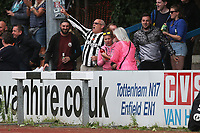 A Harwich fan celebrates the second goal during Ilford vs Harwich & Parkeston, Emirates FA Cup Football at Cricklefields Stadium on 10th August 2019