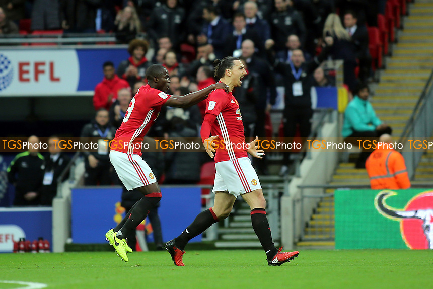 Zlatan Ibrahimovic celebrates scoring Manchester United's opening goal during Manchester United vs Southampton, EFL Cup Final Football at Wembley Stadium on 26th February 2017
