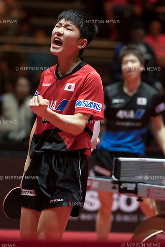 Jun Mizutami (JPN), Tomakazu Harimoto (JPN), JUNE 01, 2017, ITTF World Table Tennis Champioship in Messe Dusseldorf, Germany, Europe  (photo by Enrico Calderoni / AFLO SPORT) [0391]
