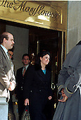 Washington, DC - January 26, 1999 -- Monica Lewinsky leaves the Mayflower Hotel on 26 January, 1999..Credit: Ron Sachs / CNP