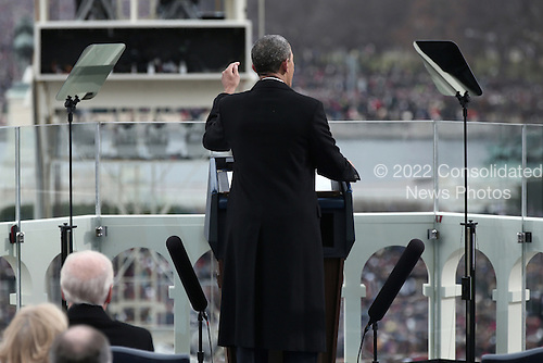 United States President Barack Obama gives his inauguration address during the public ceremonial inauguration on the West Front of the U.S. Capitol January 21, 2013 in Washington, DC.   Barack Obama was re-elected for a second term as President of the United States.   .Credit: Win McNamee / Pool via CNP