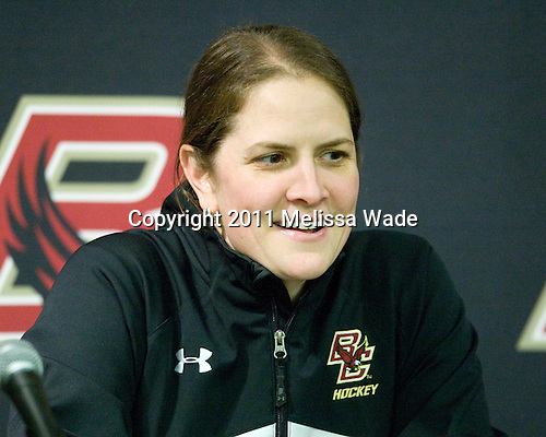 Katie King (BC - Head Coach) - The Boston College Eagles defeated the Boston University Terriers 2-1 in the opening round of the Beanpot on Tuesday, February 8, 2011, at Conte Forum in Chestnut Hill, Massachusetts.