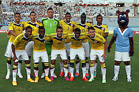 MONTEVIDEO - URUGUAY - 27-01-2015: Los jugadores de Colombia, posan para una foto durante partido del Sudamericano Sub 20 entre los seleccionados de Colombia y Paraguay en el estadio Centenario de la ciudad de Montevideo. / The players of Colombia, pose for a photo during the match for the Sudamericano U 20 between the teams of Colombia and Paraguay in the Centenario stadium in Montevideo city,  Photo: Andres Gomensoro  / Photosport / VizzorImage.