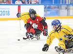 Pyeongchang, Korea, 10/3/2018- Tyler McGregor of Canada plays Sweden in hockey during the 2018 Paralympic Games in PyeongChang. Photo Scott Grant/Canadian Paralympic Committee.